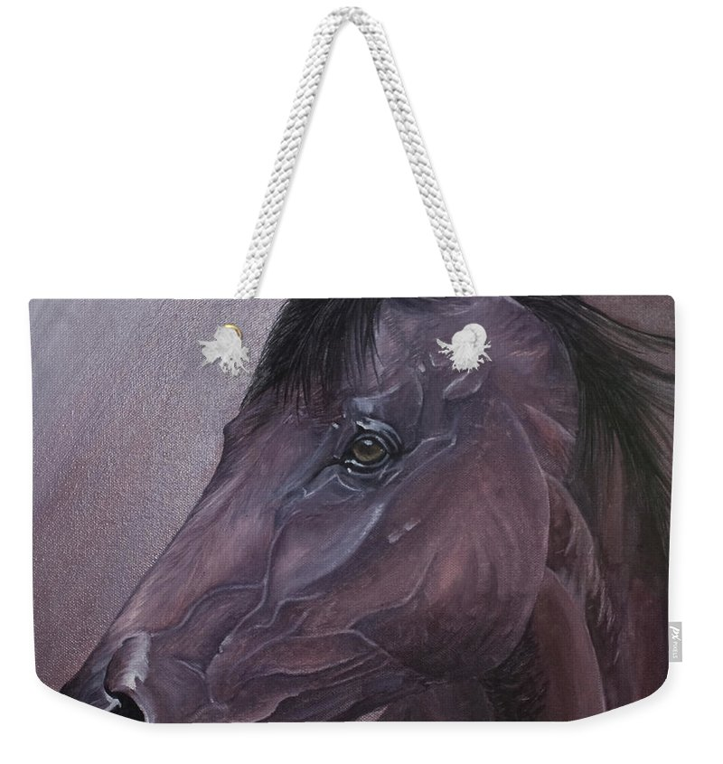 Horse Marwari Equine Purple Weekender Tote Bag featuring the painting Marwari Purple by Pauline Sharp