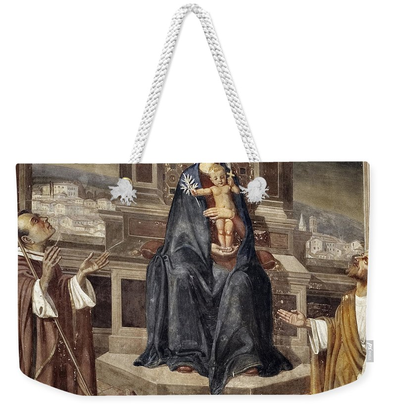 Italy Italian Mary Jesus Men Fresco Religious Religion Paint Painted Old Ancient Catholic Weekender Tote Bag featuring the photograph Mary And Baby Jesus by Marilyn Hunt