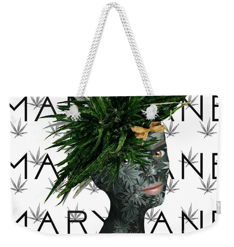 Marijuana Art Weekender Tote Bag featuring the digital art Mary Jane by Nola Lee Kelsey