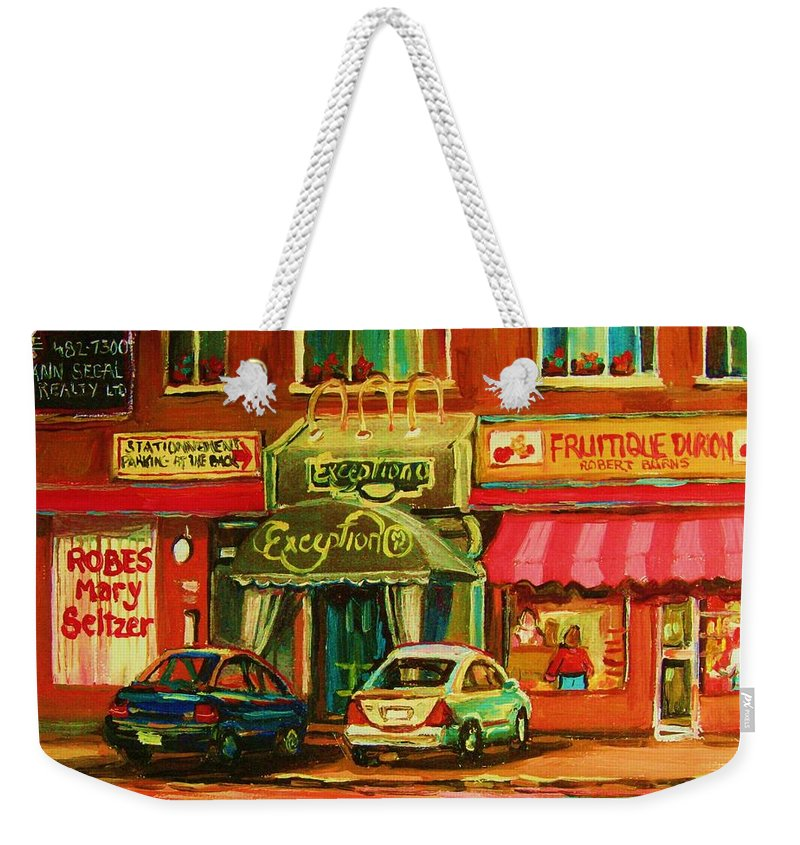 Mary Seltzer Dress Shop Weekender Tote Bag featuring the painting Mary Seltzer Dress Shop by Carole Spandau