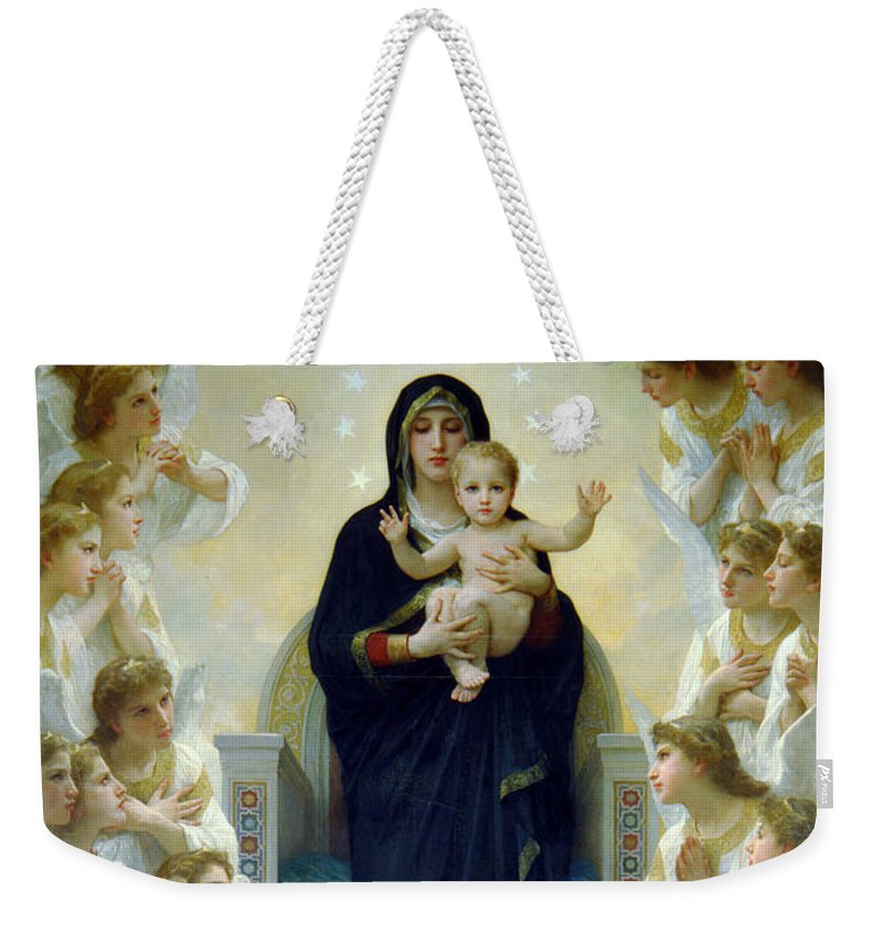Mary Weekender Tote Bag featuring the photograph Mary With Angels by Munir Alawi
