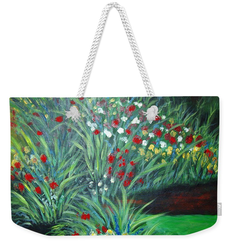Landscape Weekender Tote Bag featuring the painting Maryann's Garden 3 by Nancy Mueller