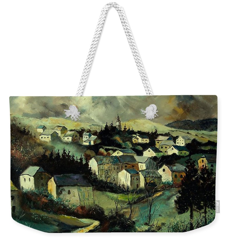 Winter Weekender Tote Bag featuring the painting Masbourg by Pol Ledent