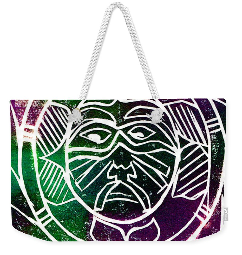 Mask Weekender Tote Bag featuring the painting Mask by Brenda Owen