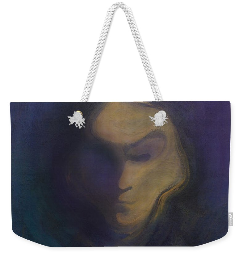 Mask Weekender Tote Bag featuring the painting Masked by Kevin Middleton