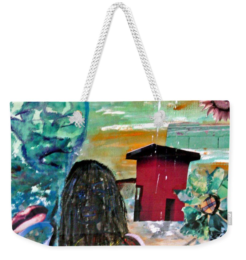 Water Weekender Tote Bag featuring the painting Masks Of Life by Peggy Blood