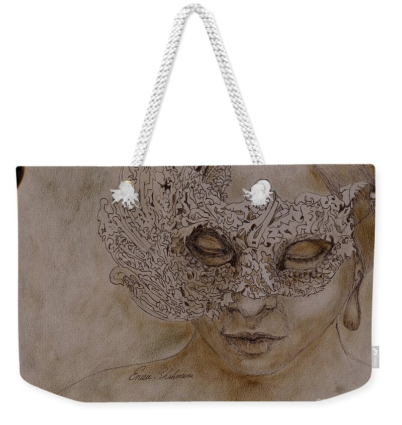 Mask Weekender Tote Bag featuring the drawing Masquerade by Portraits By NC