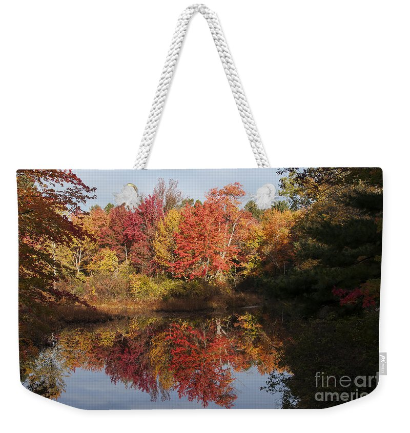 Quinebaug River Sturbridge Massachusetts Rivers Water Reflection Reflections Tree Trees Autumn Color Fall Colors Landscape Landscapes Waterscape Waterscapes Reflection Reflections Weekender Tote Bag featuring the photograph Massachusetts Color by Bob Phillips