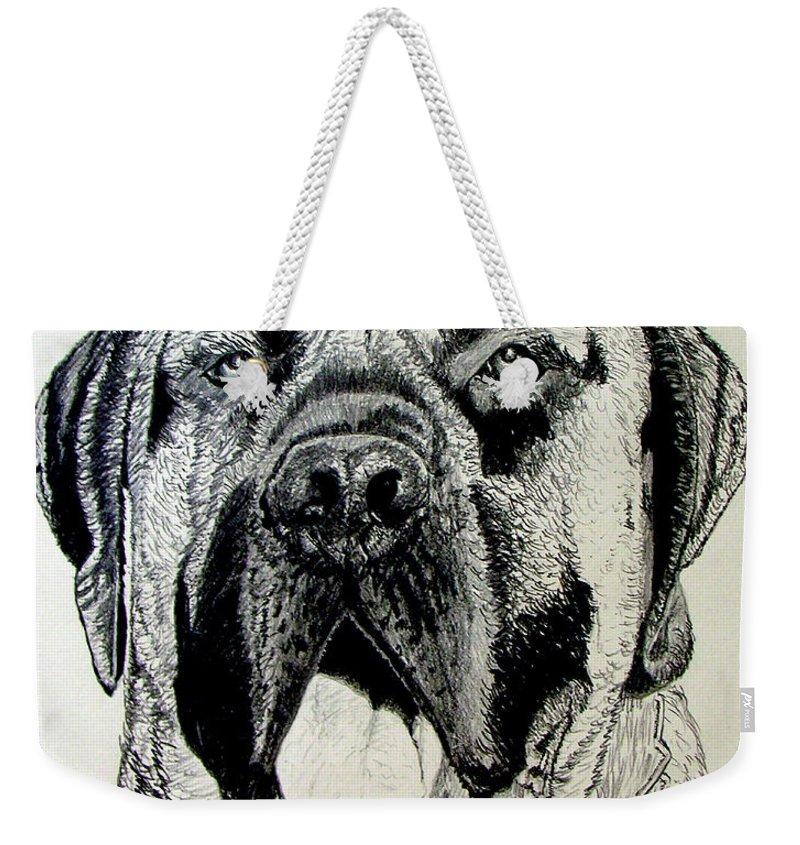 Mastiff Weekender Tote Bag featuring the drawing Mastiff by Stan Hamilton
