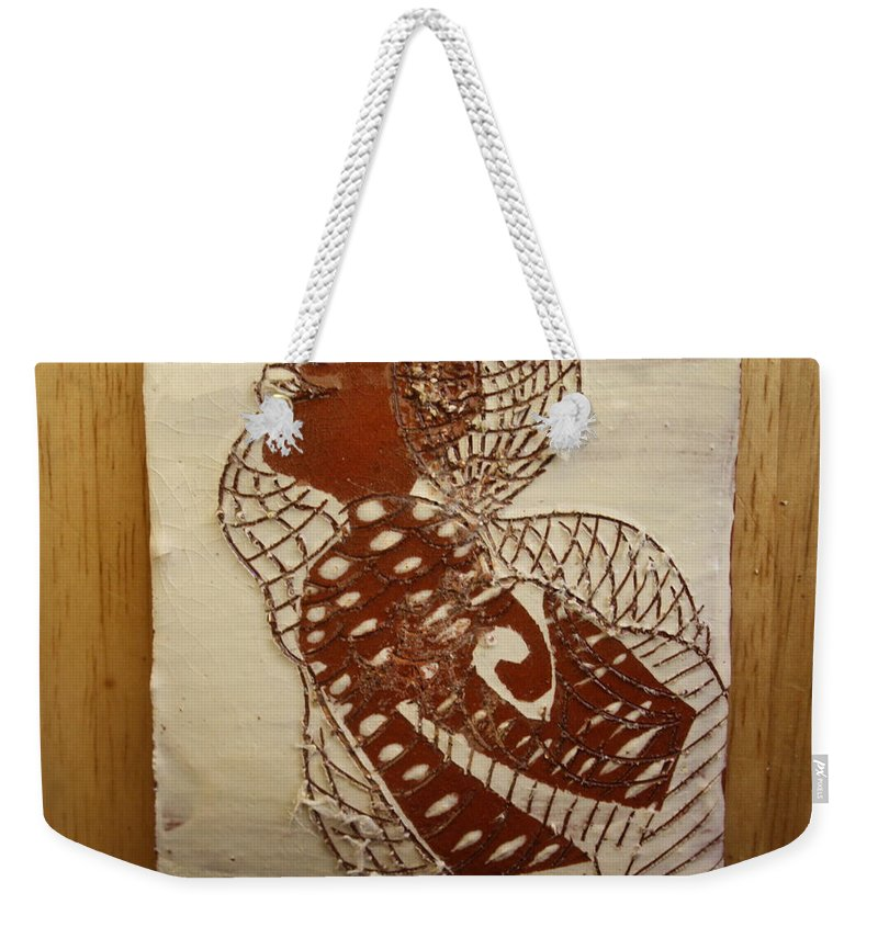 Jesus Weekender Tote Bag featuring the ceramic art Matildas Smile - Tile by Gloria Ssali