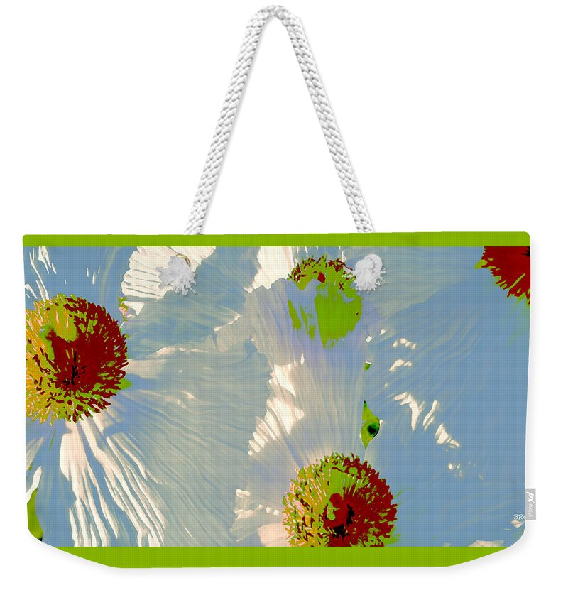 Floral Abstract Weekender Tote Bag featuring the photograph Matilija Poppies Pop Art by Ben and Raisa Gertsberg
