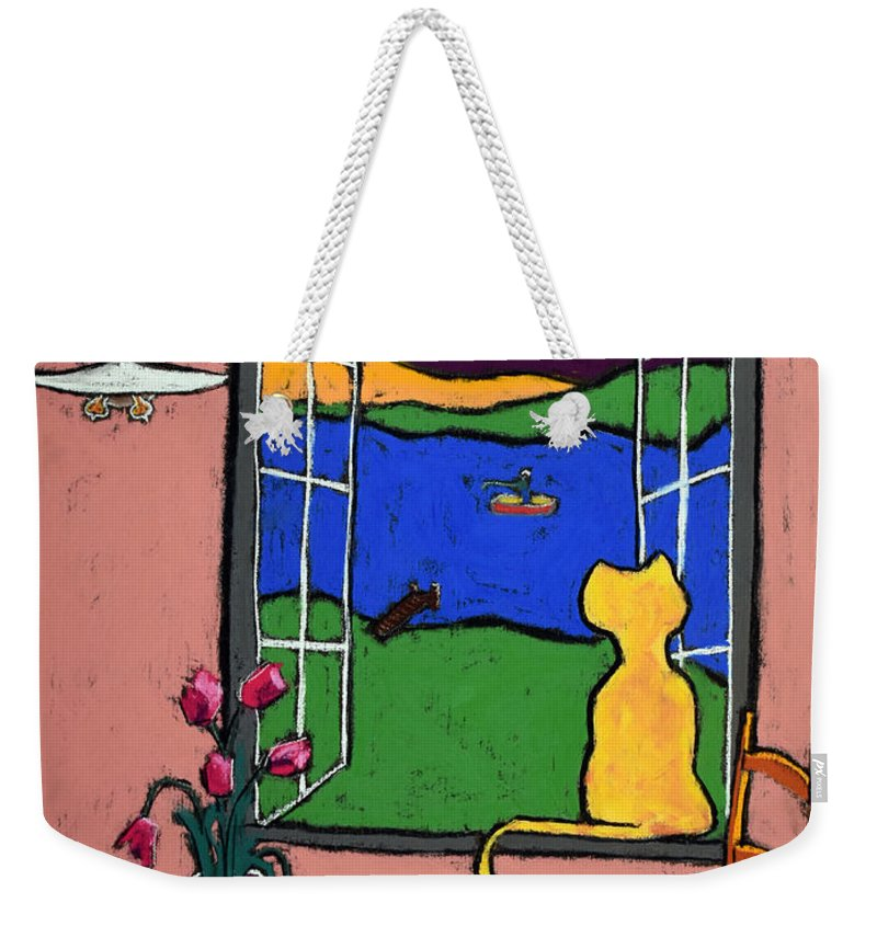 Cat Weekender Tote Bag featuring the drawing Matisse's Cat by David Hinds