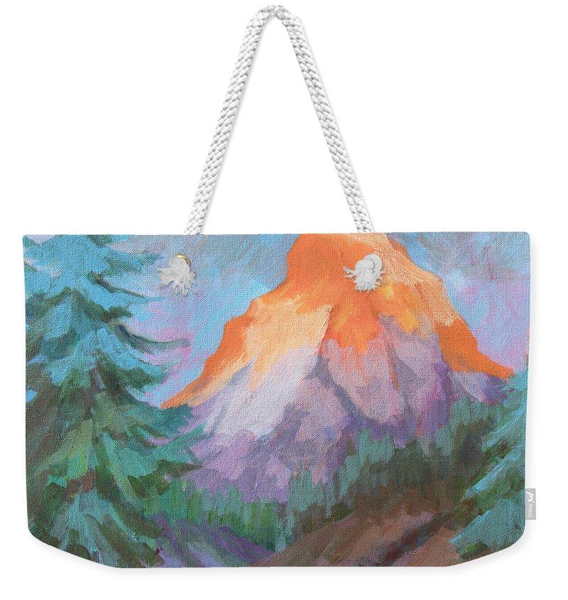 Matterhorn Weekender Tote Bag featuring the painting Matterhorn Sunrise by Diane McClary
