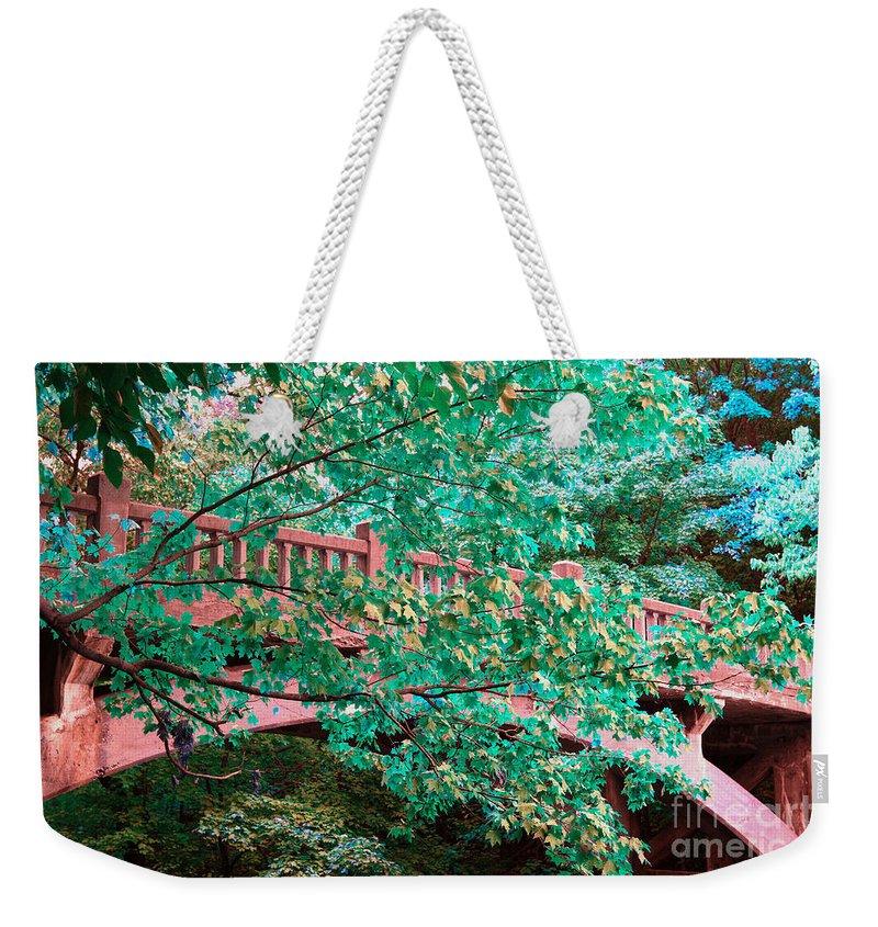 Alan Look Weekender Tote Bag featuring the photograph Matthiessen State Park Bridge False Color Infrared No 1 by Alan Look
