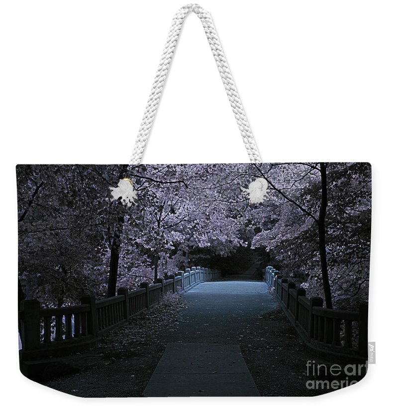 Alan Look Weekender Tote Bag featuring the photograph Matthiessen State Park Bridge False Color Infrared No 2 by Alan Look