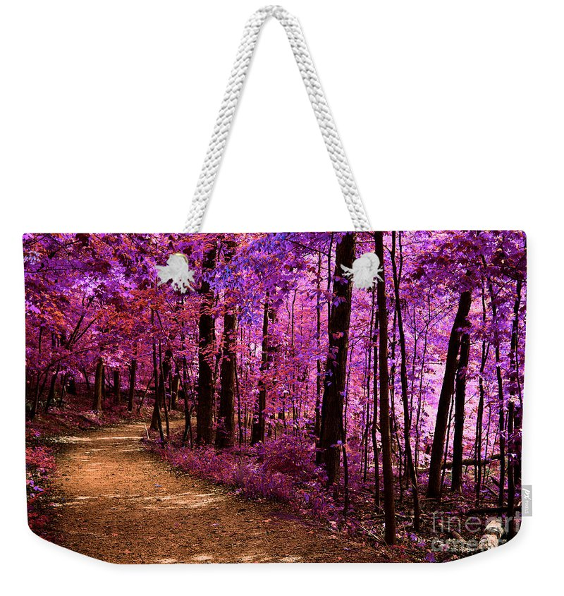 Alan Look Weekender Tote Bag featuring the photograph Matthiessen State Park Trail False Color Infrared No 2 by Alan Look