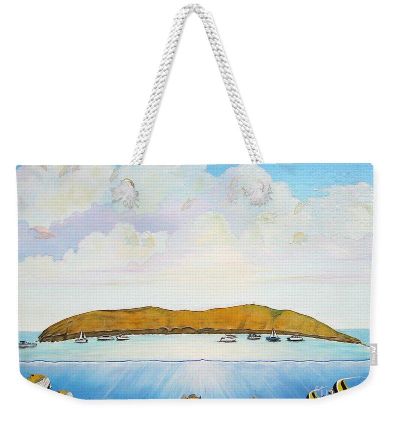 Molokini Weekender Tote Bag featuring the painting Maui Molokini Magic by Jerome Stumphauzer