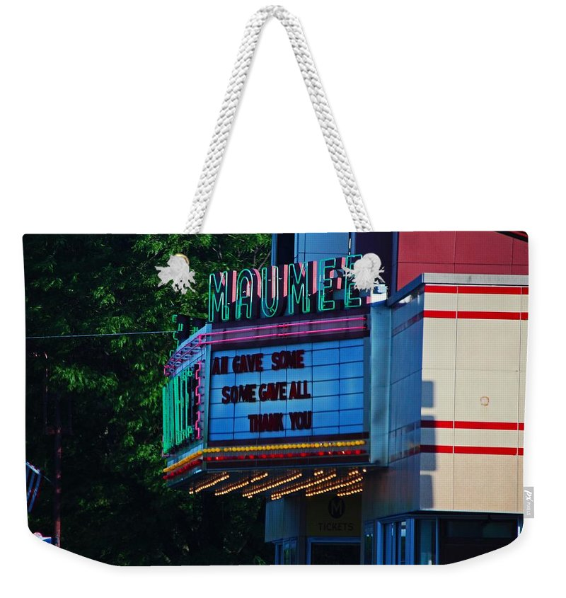 Maumee Weekender Tote Bag featuring the photograph Maumee Movie Theater I by Michiale Schneider
