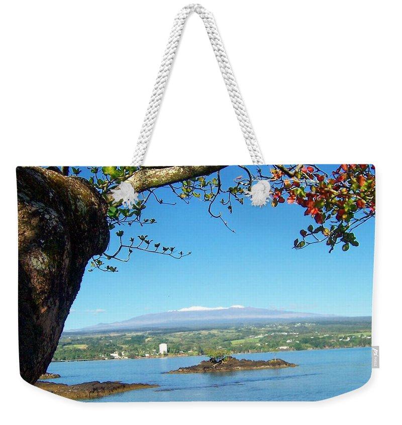 Hawaii Weekender Tote Bag featuring the photograph Mauna Kea Snow by Dina Holland