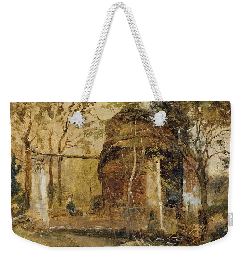 Johan Christian Dahl (norwegian Weekender Tote Bag featuring the painting Mausoleum Of San Vito Near Pozzuoli by Johan Christian