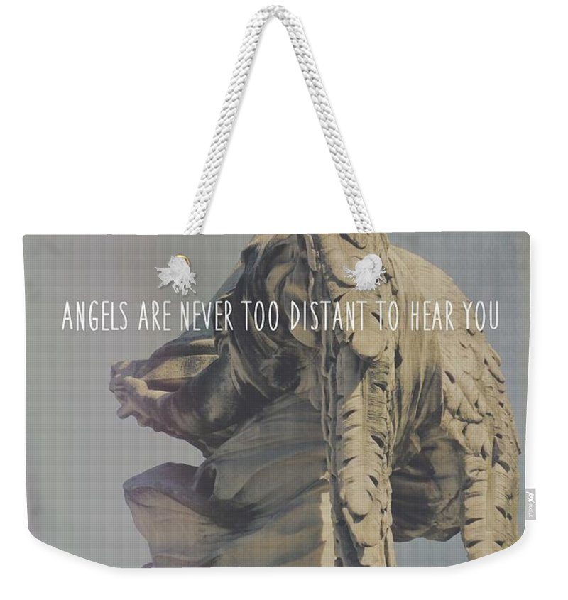 Model Weekender Tote Bag featuring the photograph Mausoleum Protector Quote by JAMART Photography