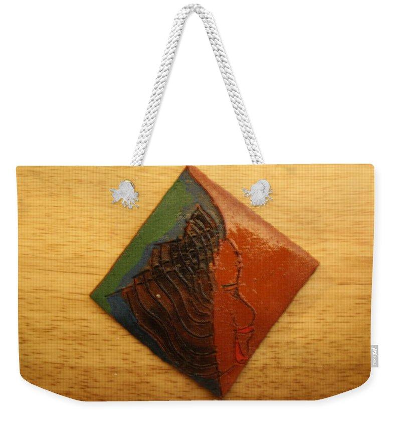 Jesus Weekender Tote Bag featuring the ceramic art Mavis - Tile by Gloria Ssali