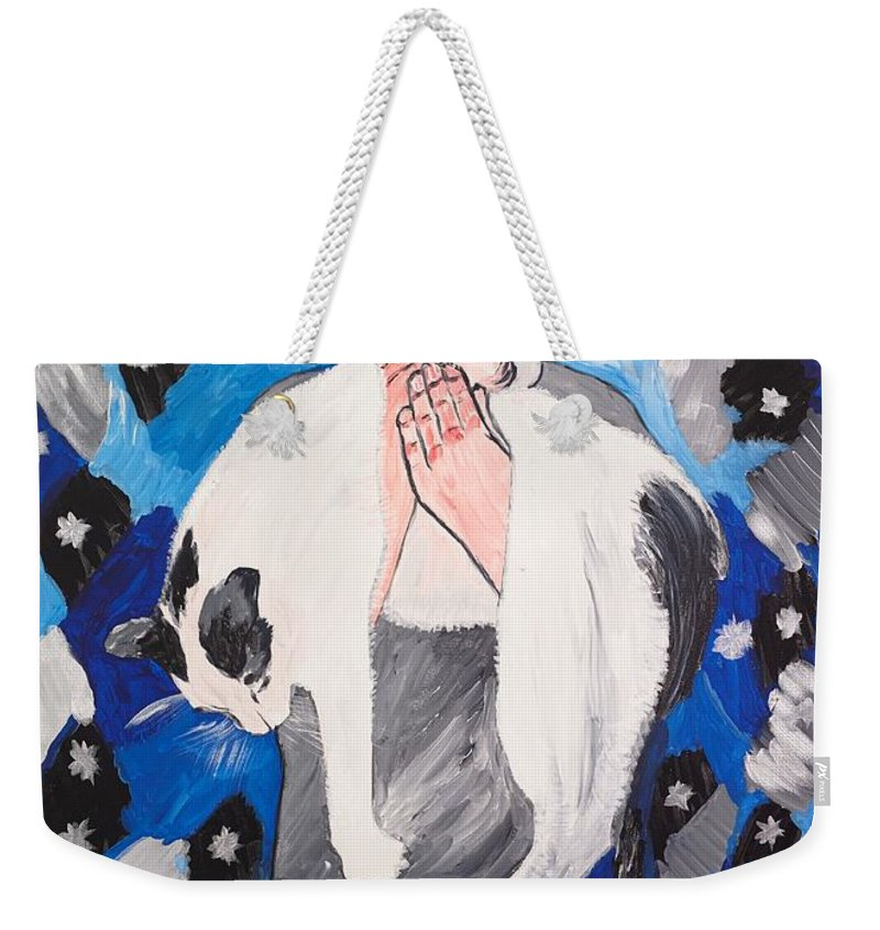 Portrait Weekender Tote Bag featuring the painting Max Holding Snowflake by Valerie Ornstein