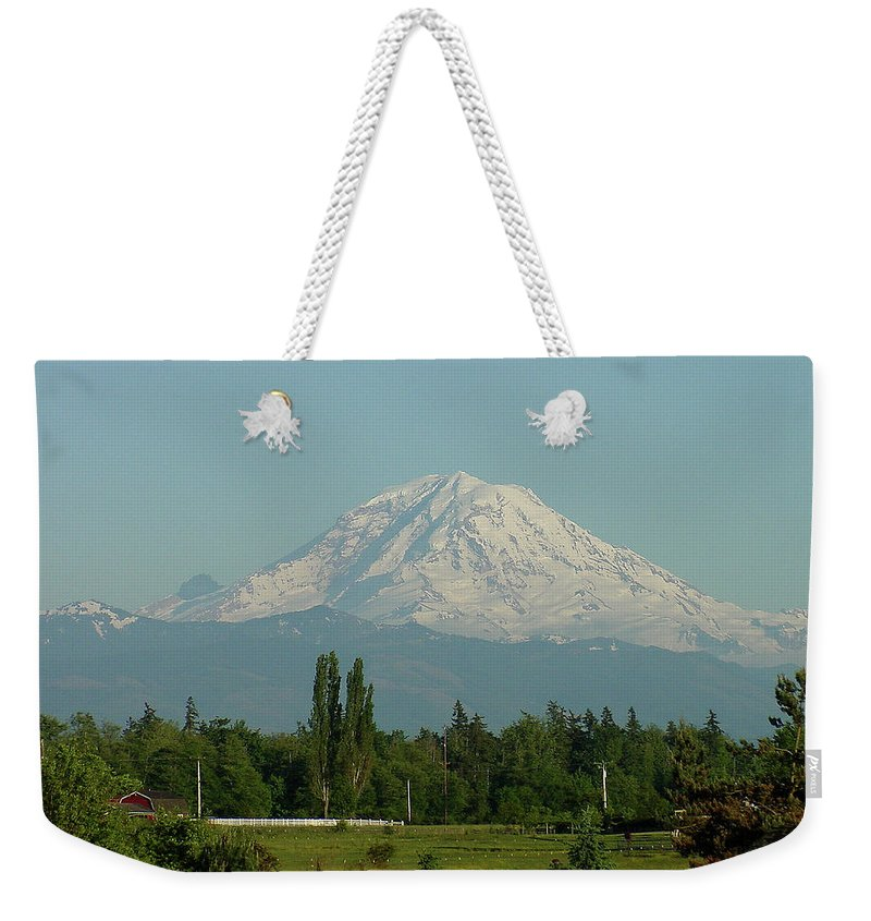 Mountain Weekender Tote Bag featuring the photograph May Mt. Rainier by Shirley Heyn