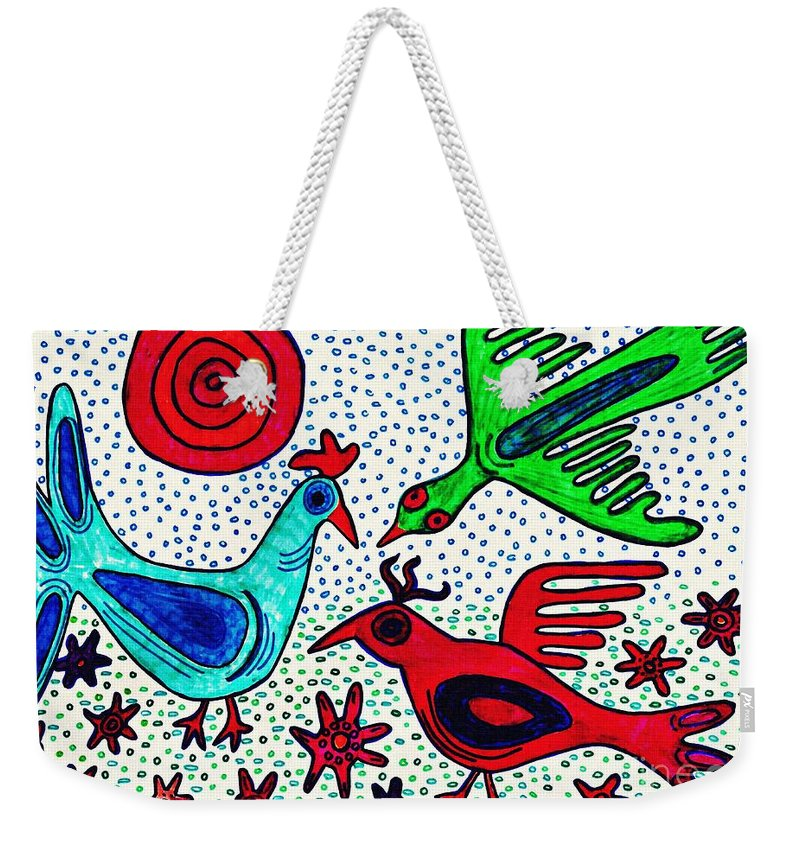Bird Weekender Tote Bag featuring the drawing Mayan Birds by Sarah Loft