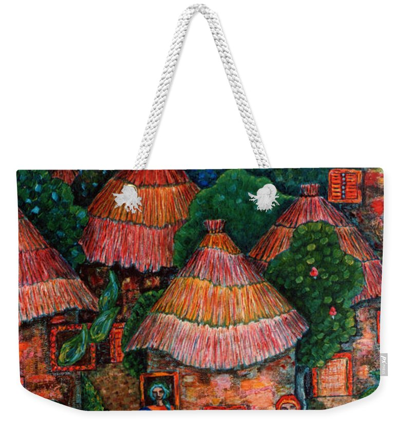 Africa Weekender Tote Bag featuring the painting Maybe That Was My Country by Madalena Lobao-Tello