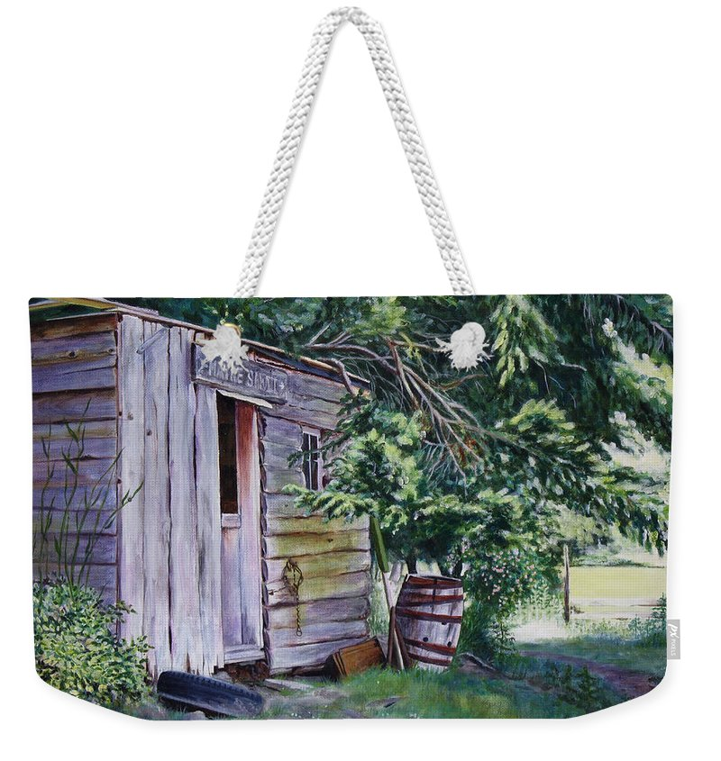 Landscape Weekender Tote Bag featuring the painting Mayne Island Sawmill by Elaine Booth-Kallweit