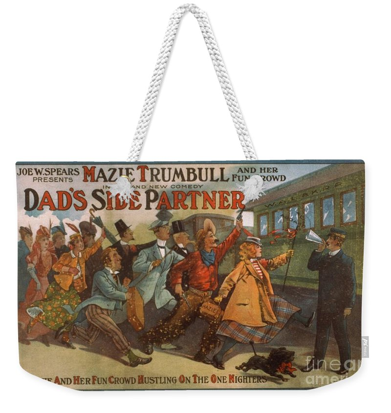 Mazie Trumbull And Her Fun Crowd Weekender Tote Bag featuring the painting Mazie Trumbull And Her Fun Crowd Dads Side Partner Vintage Entertainment Poster 1908 by R Muirhead Art