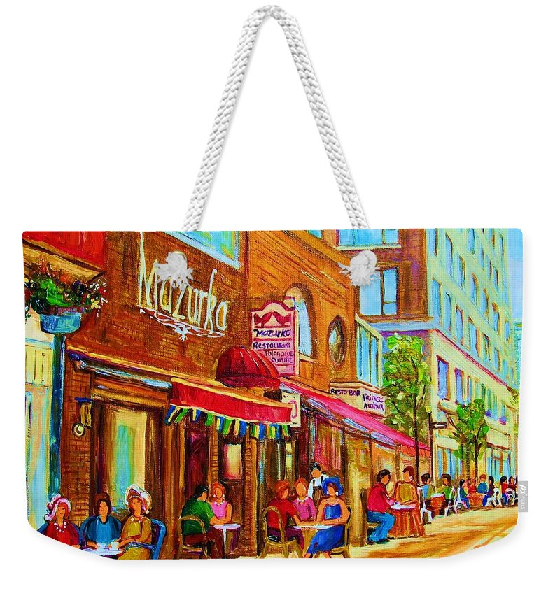 Montreal Streetscene Weekender Tote Bag featuring the painting Mazurka Cafe by Carole Spandau