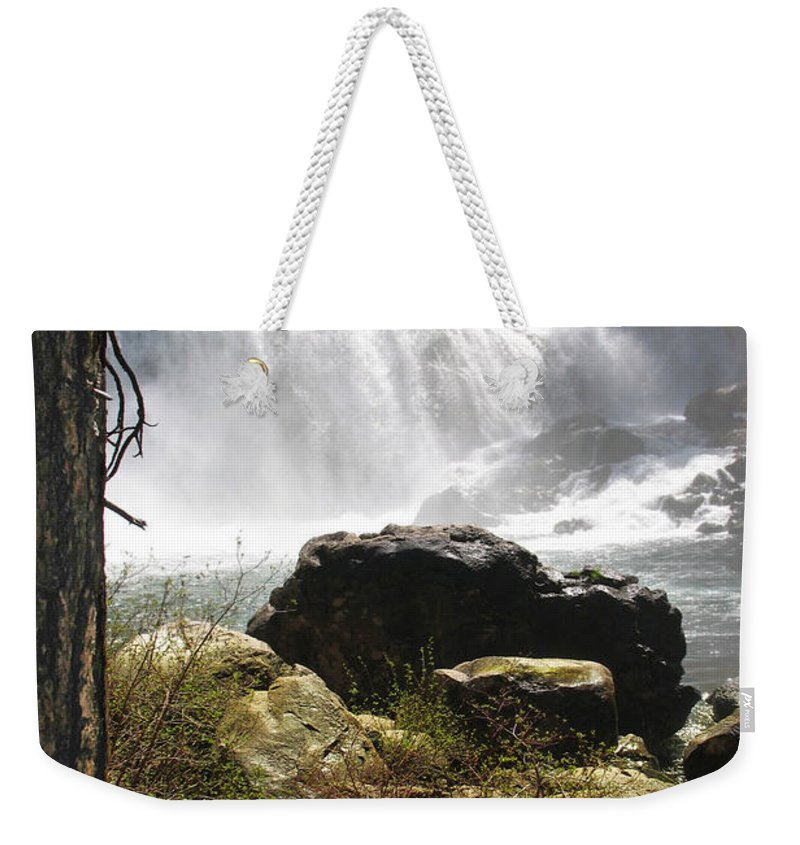 Landscape Weekender Tote Bag featuring the photograph Mccloud Middle Falls by Karen W Meyer