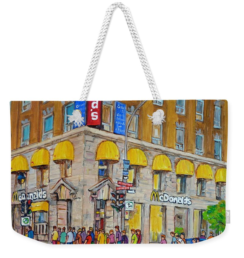 Montreal Weekender Tote Bag featuring the painting Mcdonald Restaurant Old Montreal by Carole Spandau
