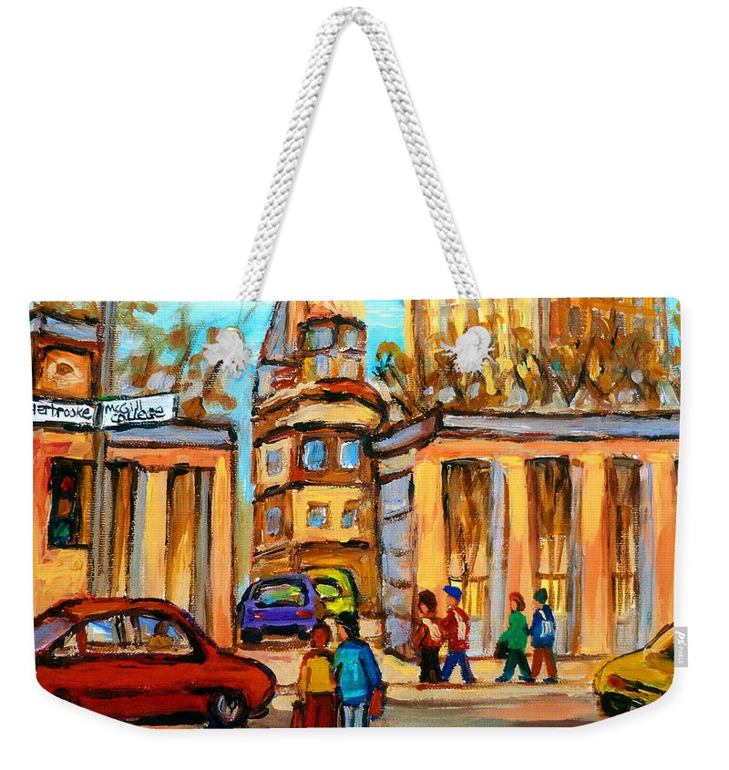 Montreal Cityscapes Weekender Tote Bag featuring the painting Mcgill Roddick Gates by Carole Spandau