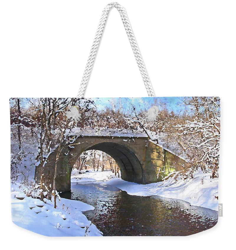 Landscape Weekender Tote Bag featuring the digital art Mcgowan Bridge by Steve Karol