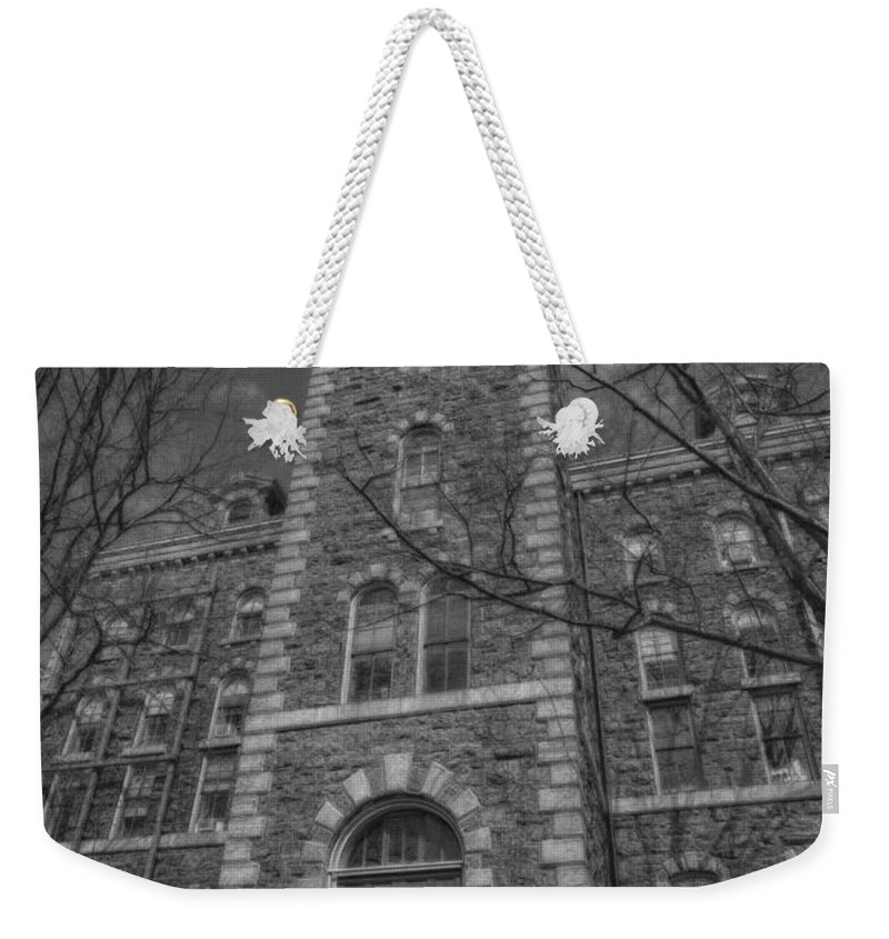 Mcgraw Hall Weekender Tote Bag featuring the photograph Mcgraw Hall - Bw by Stephen Stookey