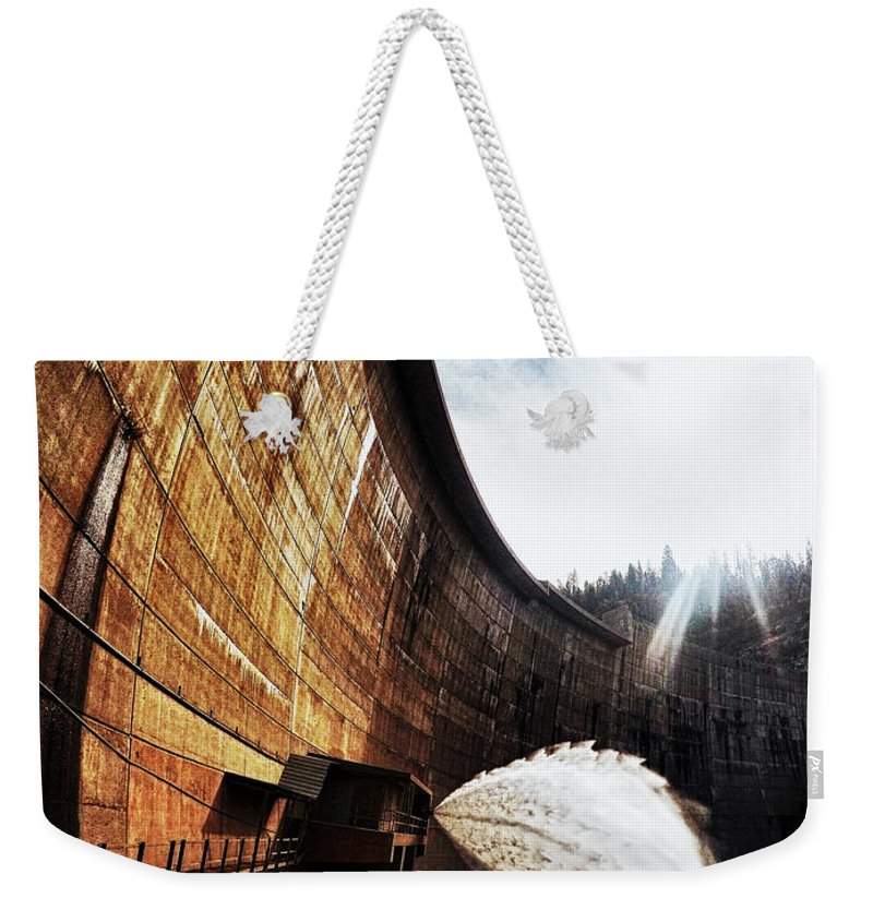 Dam Weekender Tote Bag featuring the photograph Mckays Dam Waterjet by Aaron James