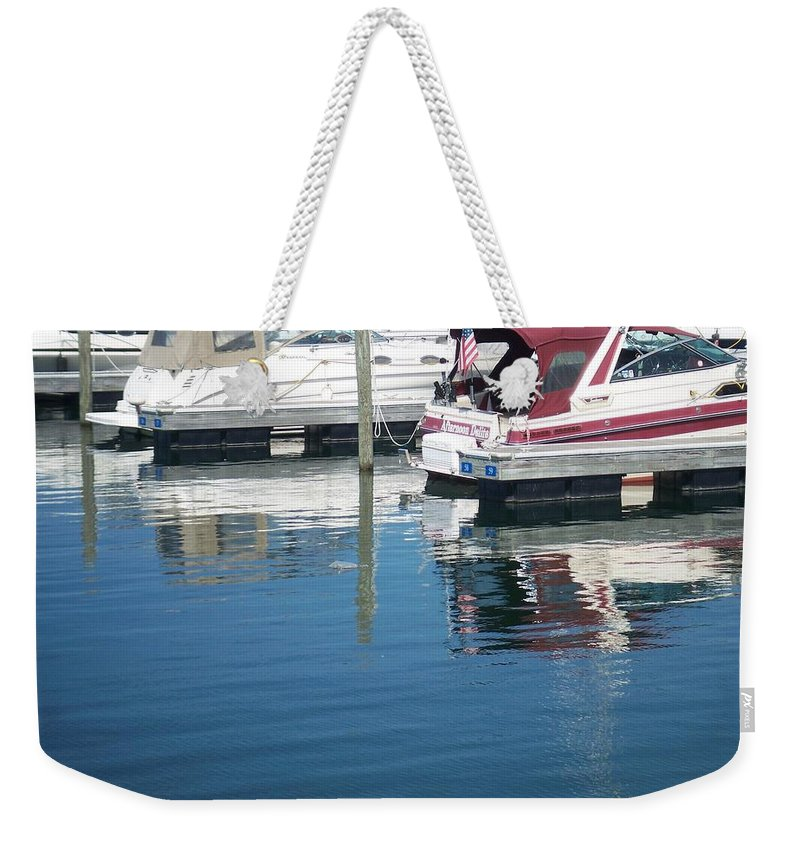 Mckinley Marina Weekender Tote Bag featuring the photograph Mckinley Marina 1 by Anita Burgermeister