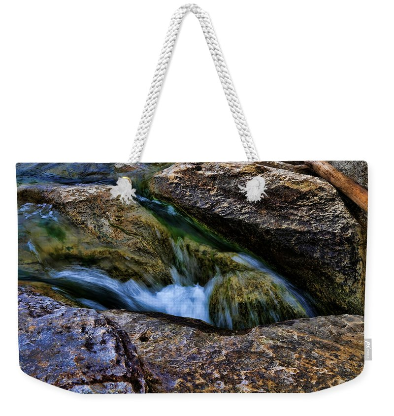 Waterfall Weekender Tote Bag featuring the photograph Mckinney Falls State Park-lower Falls 4 by Judy Vincent