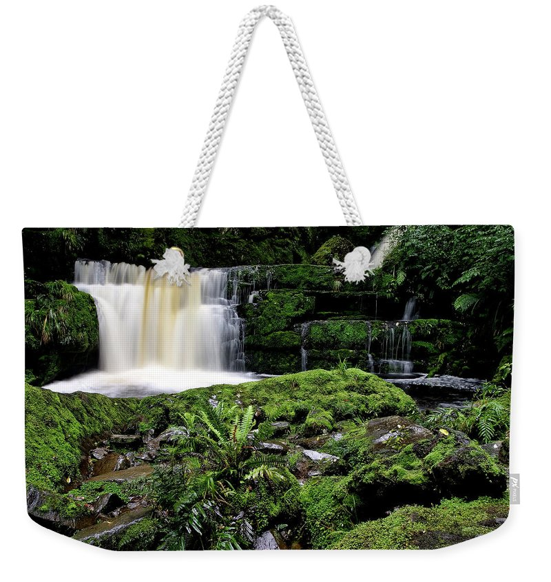 Water Weekender Tote Bag featuring the digital art Mclean Falls In Southland New Zealand by Mark Duffy