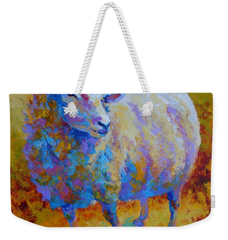 Llama Weekender Tote Bag featuring the painting Me Me Me by Marion Rose