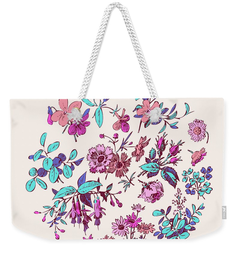 Floral Weekender Tote Bag featuring the digital art Meadow Flower And Leaf Wreath Isolated On Pink, Circle Doodle Fl by Svetlana Corghencea