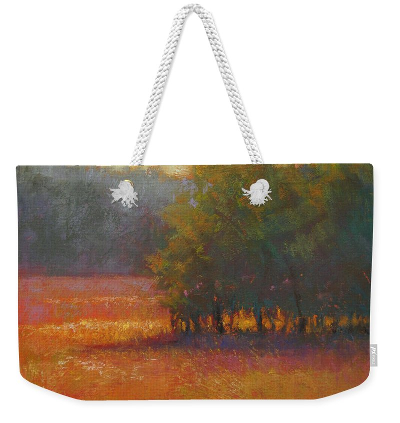Landscapes Weekender Tote Bag featuring the painting Meadow Glow by Susan Williamson
