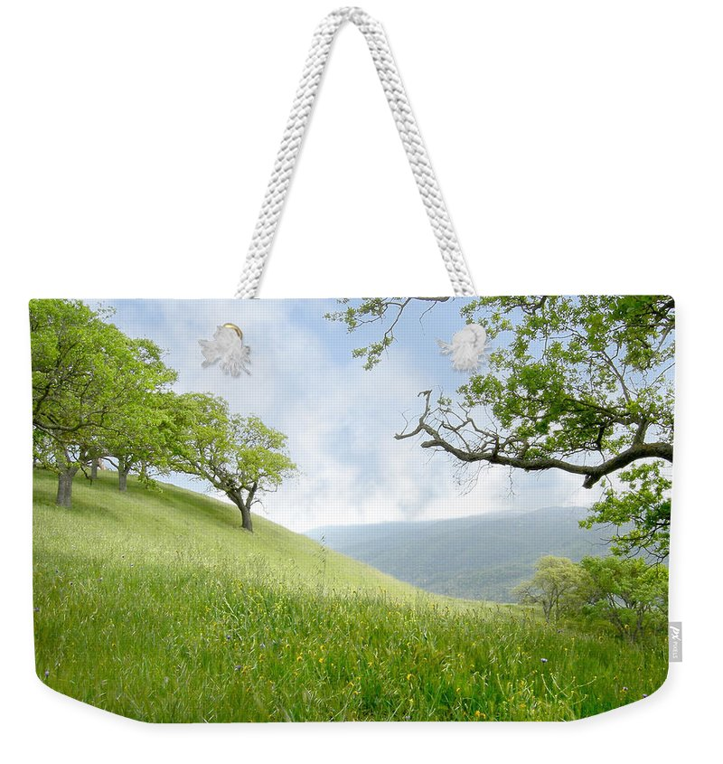 Landscape Weekender Tote Bag featuring the photograph Meadow View Spring by Karen W Meyer