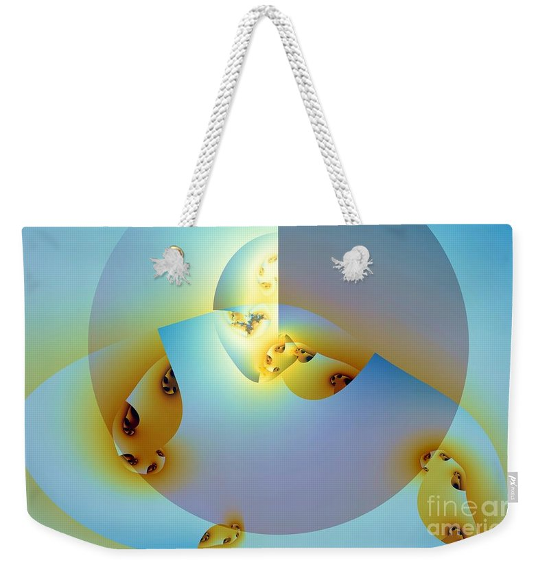 Shell Weekender Tote Bag featuring the digital art Meanwhile Outside The Expression by Ron Bissett