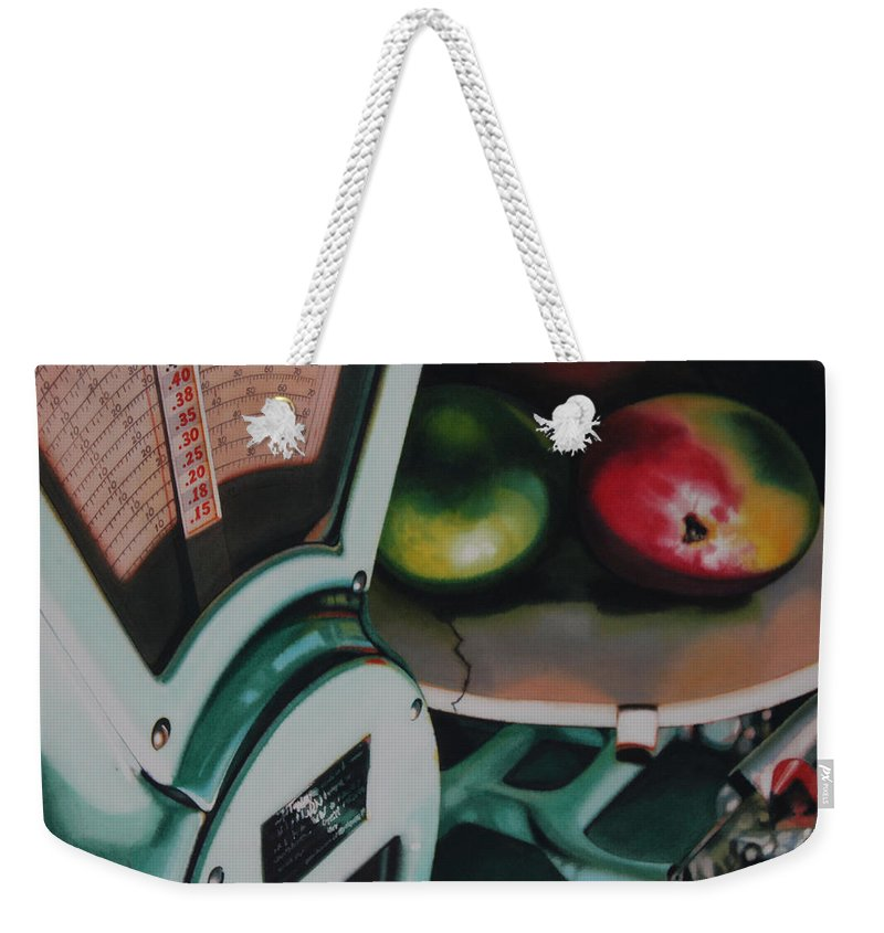 Scale Weekender Tote Bag featuring the painting Measured by Denny Bond