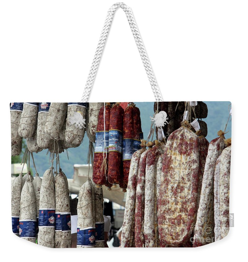 Italy Weekender Tote Bag featuring the photograph Meats And Sausages by Amos Dor