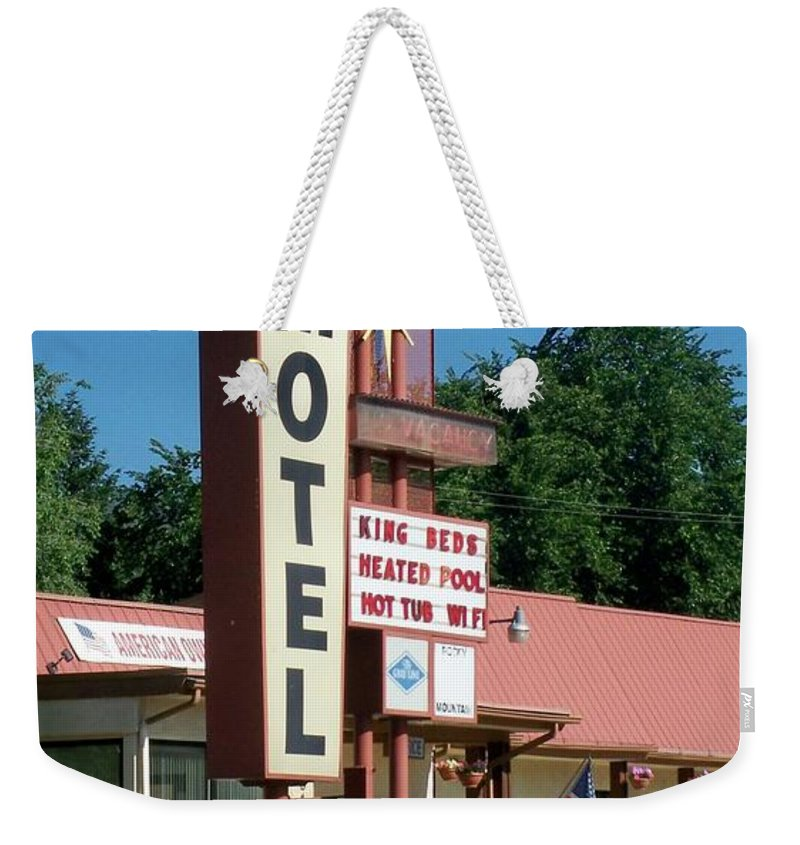 Vintage Motel Signs Weekender Tote Bag featuring the photograph Mecca Motel by Anita Burgermeister
